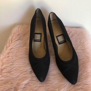 Nina Black Satin Heels